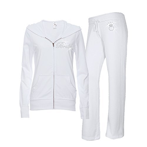 - Classy Bride Bridal Jumpsuit,White, Silver,X Large 10