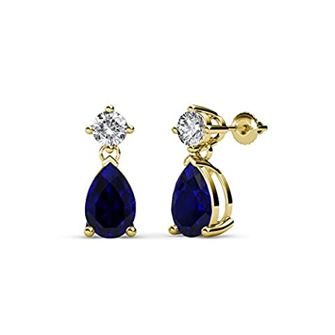 Pear Blue Sapphire and Diamond (SI2-I1, G-H) Dangling Stud Earrings 1.76 ct tw in 14K Yellow Gold - I1 Pear Earrings
