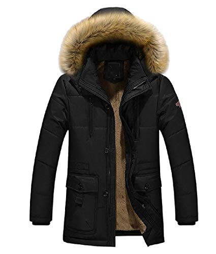 Men Warm Quilted Jacket Mid Long Winter Thicken Hoodie Black Collar Fur Howme t6pwqdp