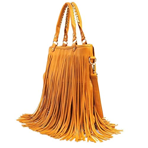 (HongMong Vintage Women Tassel Bag Leather Bag Messenger Retro Shoulder Bag Handle Bag)