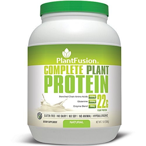 PlantFusion Complete Protein Powder, Natural Unflavored, No Soy or Rice, 30 Servings, 22g Protein, 2lb Tub