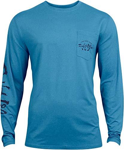 Salt Life Men's Watermans Trifecta Performance Long Sleeve Shirt (XXL, Malibu Blue)