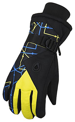WATERFLY Kid's Winter Ski & Snowboard Gloves Warm Windproof Snowproof Outdoor Sports Gloves (Yellow)