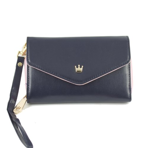 Ziyan For Apple iPhone 4 4S 5/Galaxy S 2 3 /Smart Phone Case Card Coin Wallet Crown Smart Purse 8 colors available (Dark Blue)