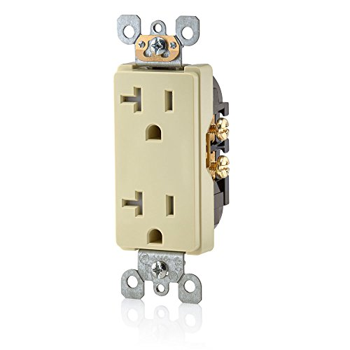 Leviton T5825-I Decora Straight Blade Tamper Resistant Duplex Receptacle, 125 V, 20 A, 2 Pole, 3 Wire, Ivory