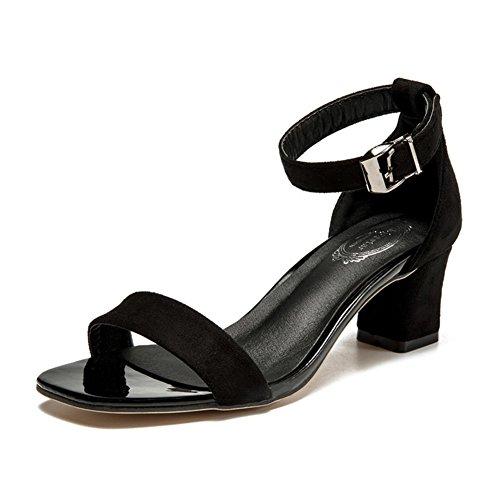 Frauen Sandalen,Raue Fersen,Europäische Und Amerikanische Schuhe,Hollow Ein Wort Mit Schuhen, Black Suede Heels A