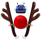 Christmas Car Reindeer Antler Decorations,Vehicle Xmas Decorations Auto Decoration Kit with Jingle Bells Rudolph Reindeer and Red Nose for Car Accessories Christmas-Antlers