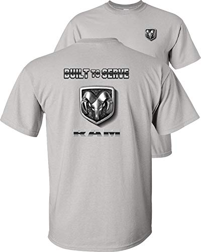 Fair Game Built to Serve Ram Logo Dodge T-Shirt-Ice Grey-XL
