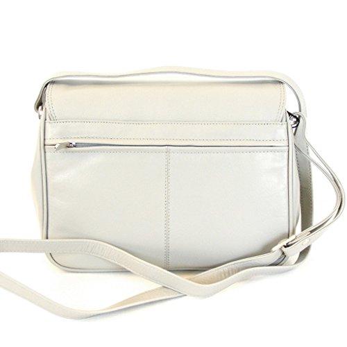 Pavini Damen Tasche Überschlagtasche Classics Leder hellgrau 9840 Innenfächer