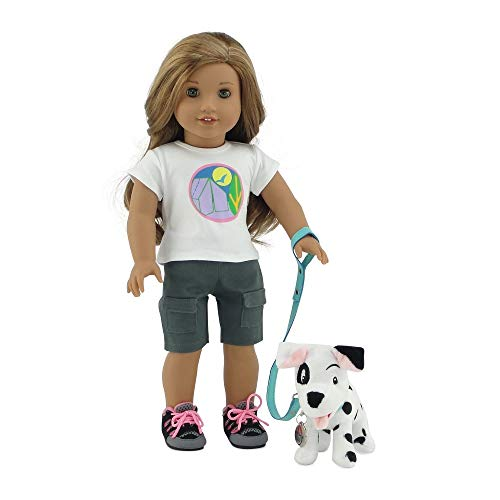 Emily Rose 18 Inch Doll Accessories | Adorable 101 Dalmatian-Inspired Patch Puppy Dog with Teal Leash, Matching Collar and Dog Tag | Fits 18