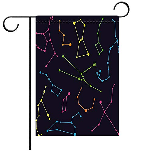 BEICICI Garden Flag Double Sided Decorative Flags Constellation Colorful Astronomic Illustration Science Ursa Major Minor Polaris Celestial Multicolor Best for Party Yard and Home Outdoor Decor