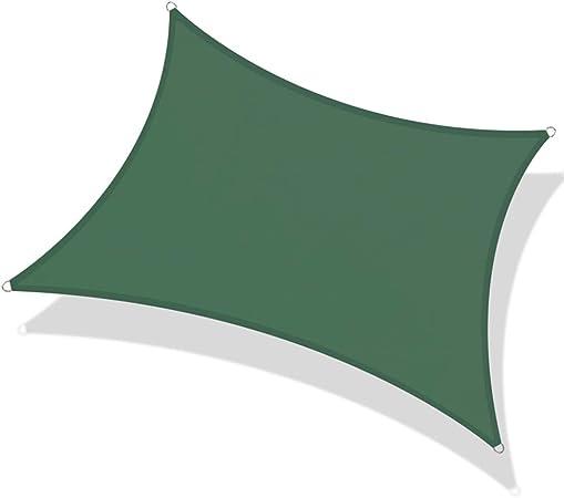 KKJKK Sol Vela de la Cortina Rectángulo 98% Bloque de UV Toldo Impermeable con Cuerda Libre, para Al Aire Libre Patios Jardín Pérgola Piscina,Verde,4X6M: Amazon.es: Hogar