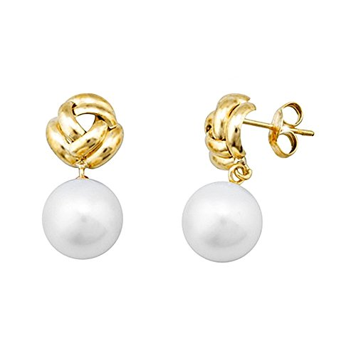 Boucled'oreille 18k or 9.5mm longue perle. noeud cultivé [AA5481]
