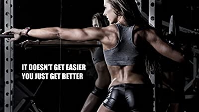 Sexy Women Fitness Bodybuilding Motivational Fabric Cloth Rolled Wall Poster Print -- Size: (43 x 24 / 24 x 13) by NewBrightBase