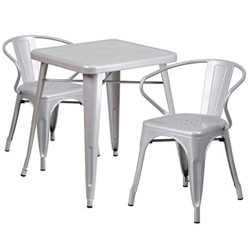 MFO 23.75'' Square Silver Metal Indoor-Outdoor Table Set with 2 Arm Chairs