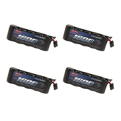 Venom 6v 1600mAh 5-Cell Flat Receiver NiMH Battery x4 - 5 Cell Flat