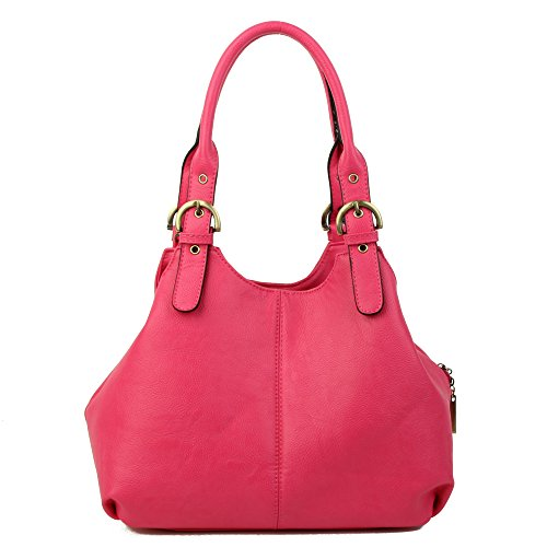 Womens with Strap and Fuchsia New London shoulder Craze Bag strap Pockets women's Medium Size Multiple bags bag Shoulder Long lady long 7Epq8wx