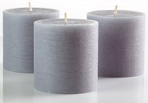 Set of 3 Grey Pillar Candles 3 x 3 Gray Unscented Rustic for Weddings Home Decoration Relaxation Spa Church Smokeless and Dripless by Melt Candle Company