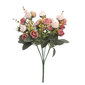 Duovlo 7 Branch 21 Heads Artificial Flowers Bouquet Mini Rose Wedding Home Office Decor,Pack of 4 2