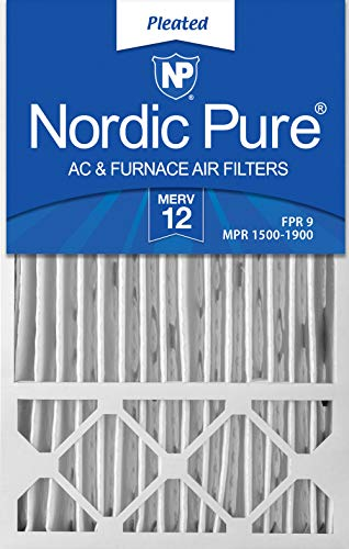 (Nordic Pure 16x25x4/16x25x5 (15 3/4 x 24 3/4 x 4 3/8) Honeywell FC100A1029 Replacement Pleated AC Furnace Air Filters MERV 12, Box of 2)