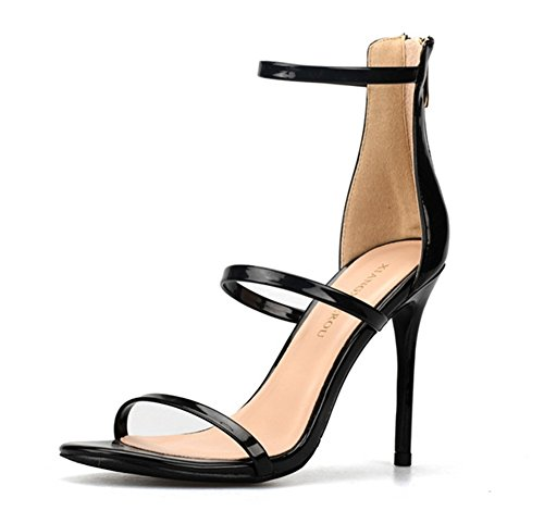 ZPL Womens Stiletto Sandals Strappy High Heel Shoes Barely There Ladies Peep Toe Evening Party Prom Size Large Size 35-44 Black y8PBvxtL