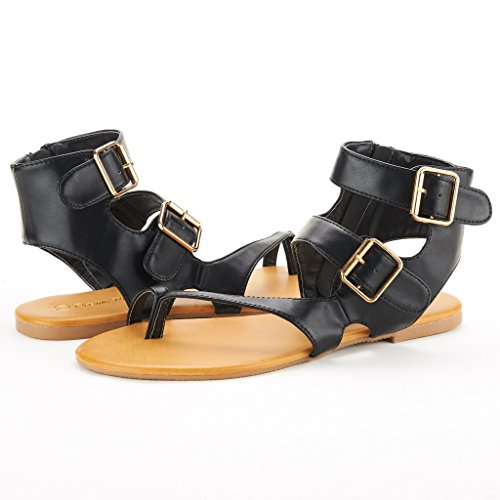 Dröm Par Crox Nya Kvinnor Öppen Tå Mode Kors Och Tvärs Valcre Fotled Remmar Sommardesign Platta Sandaler Trentch-black Pu