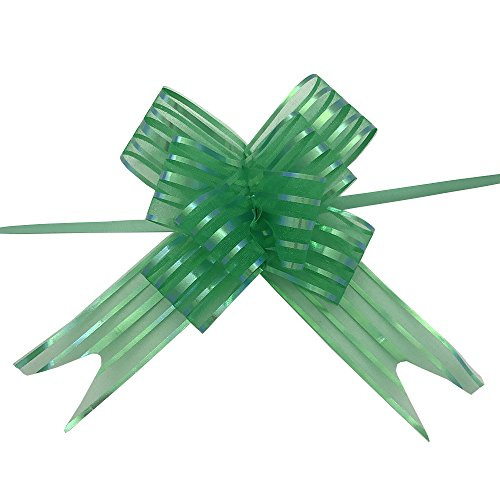 Ecago 20 Pcs Organza Pull String Bows Wrap Ribbon for Wedding Party Home Decoration - Green S431