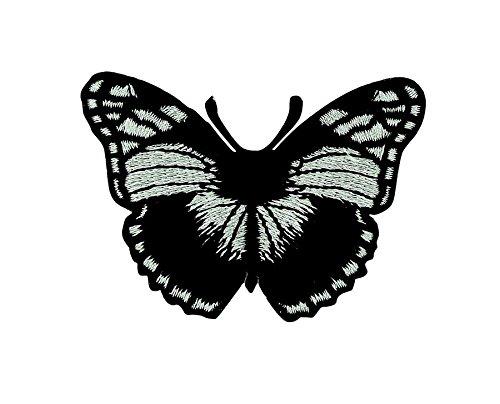 Toppa ricamata termoadesiva per zaino Acacha farfalla nera motivo