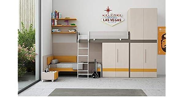 dafnedesign. COM – Dormitorio para niños – X X cm. – altura 261,2 cm – Incluye: Cama A altillo; No 1 Cama individual; No 1 escala metálica; No 1 Armario con puertas;