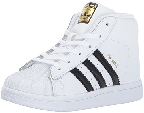 adidas Baby Pro Model Inf Sneaker,White, Core Black, Gold Met, 4K M US Infant Adidas Leather Crib Shoes