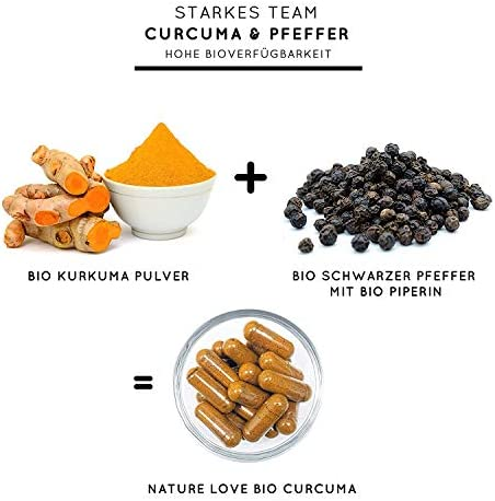 [Gesponsert]NATURE LOVE® Bio Curcuma - 240 Kapseln. 4540mg Kurkuma + schwarzer Pfeffer je Tagesdosis. Curcumin & Piperin....