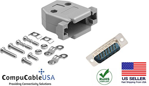 Db15 Male Solder Connector - CompuCablePlusUSA.com Best DB15 Male Solder Cup Connector Kit With Plastic Hood Best Complete DB15 Male Solder Type set Fix/Make/Assembly your own DB15 Cable
