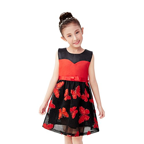 Knit Butterfly Gown - Kids Beauty Dresses for Toddlers Girls Dresses Age 3-4 Party Dresses Toddler Baby Wedding Gown Size 4 Girls Dress Girl Dress Knit Girls Dress (Red Butterfly, 4)