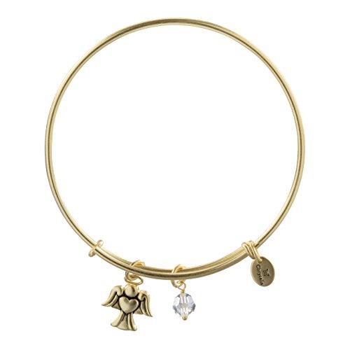 Inspirational Gaurdian Angel Charm Bangle Bracelet for Women, 14K Gold Plated, Adjustable Expandable ()