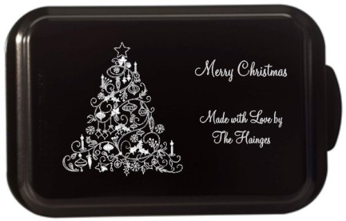 Custom and Personalized Covered Cake Pan 24 Designs Your Wording (Black)