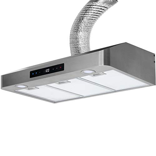 Range Hood 30 Inch Under Cabinet Stainless Steel Kitchen Fan, 3 Speeds Touch Control 350 CFM Stove Exhaust Vent YM-7375