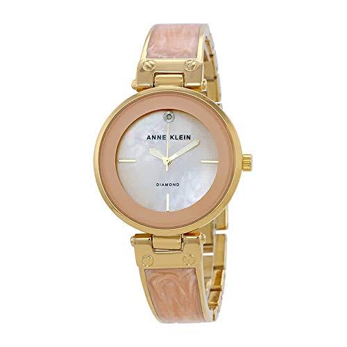 Anne Klein Women's AK/2512LPGB Diamond-Accented Gold-Tone and Blush Pink Marbleized Bangle Watch from Anne Klein