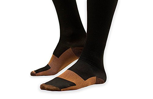 Afhion Copper Compression Socks For Women and Men - Best Graduated Athletic Fit for Running, Medical, Circulation,& Recovery,Nurses, Shin Splints,Travel & Flight - 15-20mmHg(5 pairs)