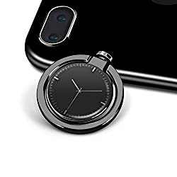 HaloVa Finger Ring Stand, Creative Fashion Clock Phone Ring Holder, Universal Nonslip Metal Phone Ring Stand for iPhone Samsung etc, 360°Rotatable, 180°Folded, Black