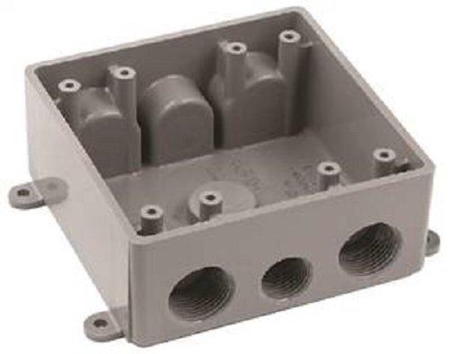 Carlon E382DE T Outlet Box, Weatherproof, 2 Gang, 4.62-Inch Length by 4.62-Inch Width by 2-Inch Depth, Gray, 1-Pack