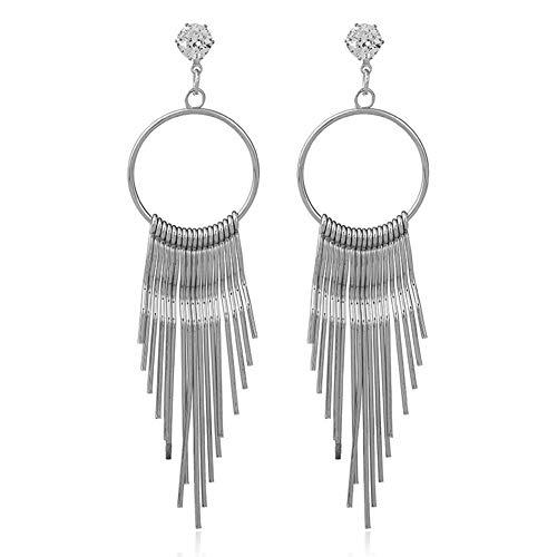 Price comparison product image 856store Clearance Sale Fashion Women Zircon Tassel Anti Allergy Metal Long Earrings Statement Jewelry Silver