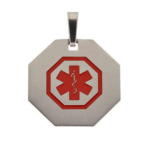 Customized Laser Engraved in the USA Medical Alert Pendant without chain - (Engraved Medical Necklace)