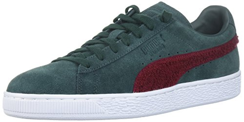 PUMA Men's Suede Classic Terry Sneaker, Green Gables-Tibetan Red, 11 M - Store Gables