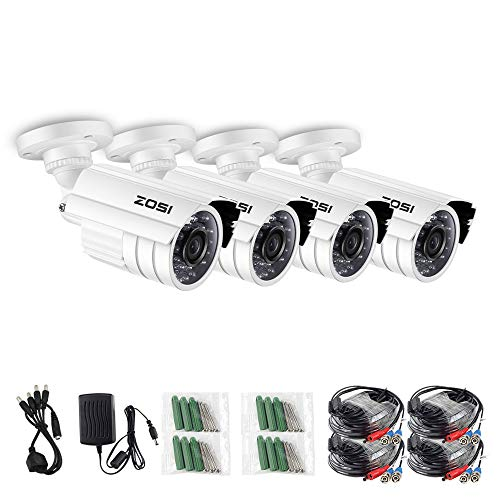ZOSI 4 Pack 1.0 Megapixel HD 720P 4 in 1 TVI/CVI/AHD/CVBS CCTV Cameras Kits 65ft IR Distance Day/Night Waterproof Cameras for HD-TVI, AHD, CVI, and CVBS/960H Analog DVR System ()