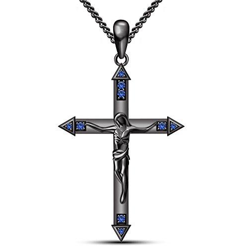 fac146b6c115 El servicio durable Moda Vorra azul zafiro Color Plata 925 Rodio plateado  Biblia Cruz Colgante Crucifijo