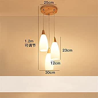 ZLYAYA Pendant Light,Chandelier,Nordic restaurant light creative three modern simple wood lighting Japanese wooden bar table table lamps