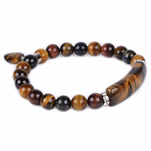 Multi-color Tiger's Eye Gem Semi Precious Gemstone Love Heart Charm Stretch Bracelet