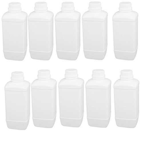 uxcell 1000ml 28mm Dia Mouth HDPE Plastic Oblong Shaped Graduated Bottle White 10pcs