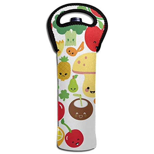 NO4LRM Cartoon Veges Unique Design Neoprene Wine Beverages 1-Bottle Tote Bag Cold Keeper with Secure Soft-Grip Handles, Lightweight and ()