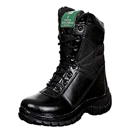 Para commando Mens Black Genuine Leather Army Military Safety Combat Boots Shoes with Steel Toe